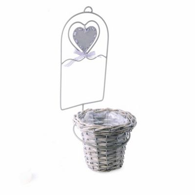 Wall Mounted Metal & Wicker Plant Pot Holder with Heart Detail