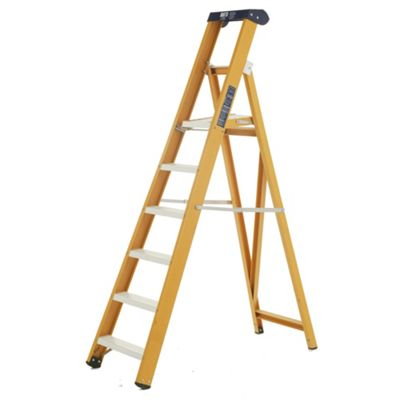 Heavy Duty 4 Tread All GRP Fibreglass Platform Step Ladder