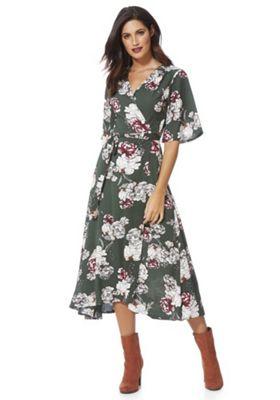 Stella Morgan Floral Wrap Midi Dress 8 Green