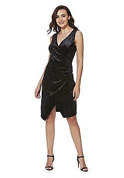 F&F Crushed Velvet Sleeveless Wrap Dress - Black