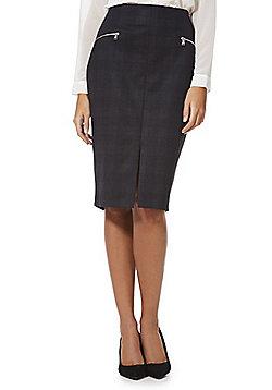F&F Checked Ponte Pencil Skirt - Black