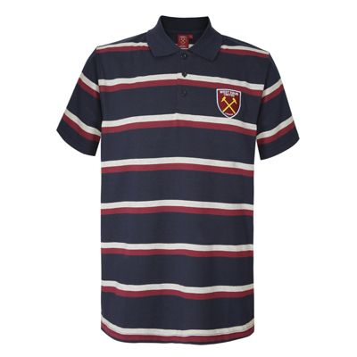West Ham United FC Mens Striped Polo Shirt Navy Small