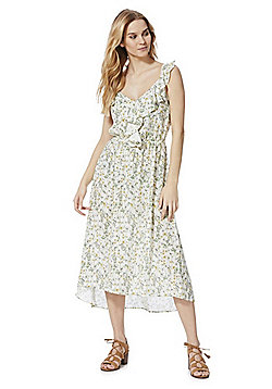 F&F Wildflower Print Ruffle Midi Summer Dress - Cream