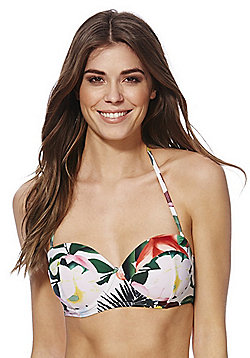 South Beach Floral Print Balcony Bikini Top - Multi