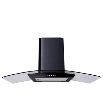 SIA CP111BL 110cm Curved Glass Black Cooker Hood Extractor Fan +1m Ducting