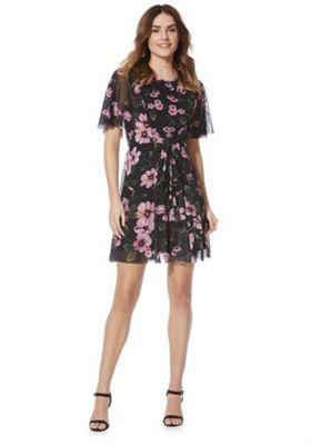 Izabel London Floral Print Flared Dress Black Multi 8