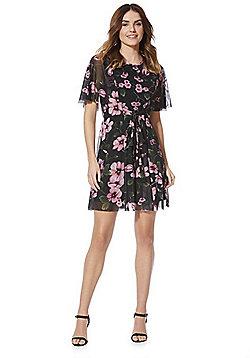 Izabel London Floral Print Flared Dress - Black Multi