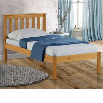Happy Beds Denver Wood Low Foot End Bed with Pocket Spring Mattress - Pine - 3ft Single