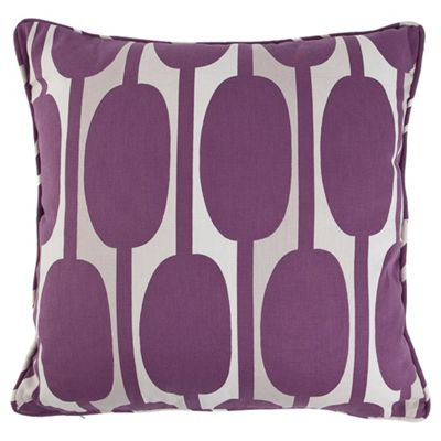 Tesco Cushions Retro Print Cushion, Plum
