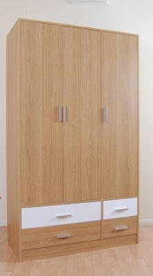 Kit Form Kit-form 3 Door 4 Drawer Wardrobe - Alto Walnut and Black Gloss