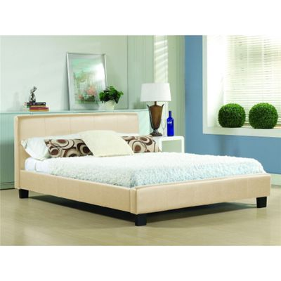 Cream Low End Faux Leather Bed Frame - Single 3ft