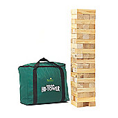 Garden Games Mega Hi-Tower in a Bag - Builds from 0.9m - 2.3m (max.) during play. Solid Pine Wood Tumble Tower Giant Game