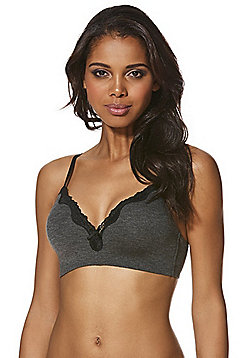 F&F Marl Non-Wired Bra - Charcoal