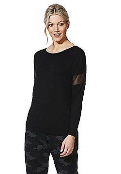 F&F Active Mesh Insert Long Sleeve T-Shirt - Black