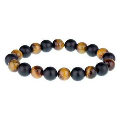 Urban Male Palmero Tigers Eye and Matt Black Onyx Bead Bracelet For Men 8mm
