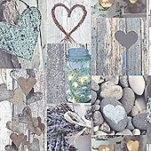 Rustic Heart Wallpaper - Natural - 669600