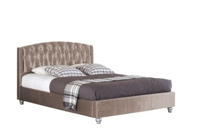 Comfy Living 4ft6 Double Velvet Fabric Bed Frame with Upholstered Headboard in Truffle with Damask Sprung Mattress
