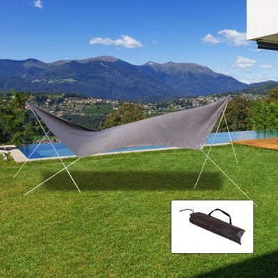 Outsunny Sunshade UV Protection Awning Canopy Camping Tent Tarp Hiking Shelter (Brown)