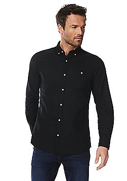 F&F Button Down Collar Long Sleeve Oxford Shirt - Black