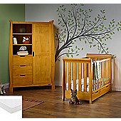 Obaby Stamford Mini Cot Bed/Wardrobe + Sprung Mattress - Country Pine