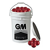 60 x Gunn & Moore Bowling Machine Balls in a Bucket