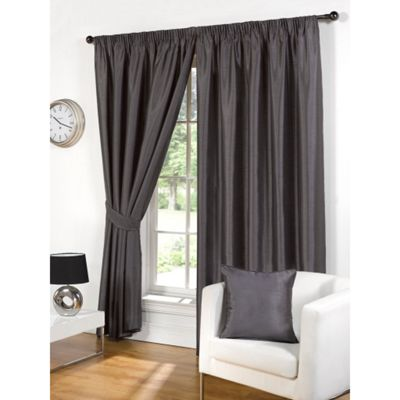 Hamilton McBride Faux Silk Pencil Pleat Grey Curtains - 46x54 Inches (117x137cm) Includes Tiebacks