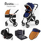 Riviera Plus 3 in 1 Silver Travel System, Midnight Blue & Tan