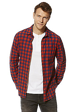 F&F Checked Shirt and Grandad Collar T-Shirt Set - Red