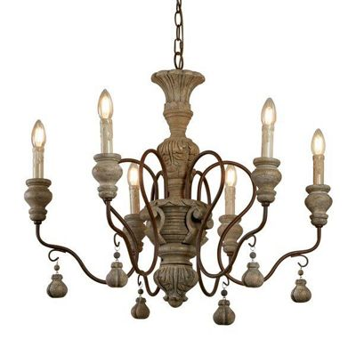 IDA 6 LIGHT PENDANT, RUSTIC BROWN, WEATHERED WOOD
