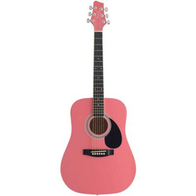 Stagg 3/4 Acoustic Dreadnought Guitar – Pink – with 6 Months Free Online Music Lessons