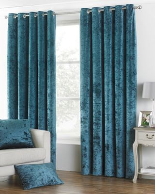 Riva Home Crushed Velvet Teal Verona Eyelet Curtains - 66x72 Inches (168x183cm)
