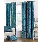 "Verona Crushed Velvet - Teal - Eyelet Curtains - 66x72""/168x183cm"