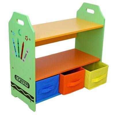 Kiddi Style Crayon Themed Kids Wooden 3 Tier Shelves & Boxes Set - Green