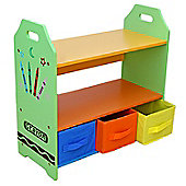 Kiddi Style Crayon Themed Kids Wooden 3 Tier Shelves & Boxes Set - Green