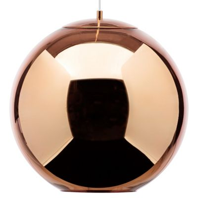 Litecraft Abigail Large 1 Bulb Sphere Ceiling Pendant, Copper