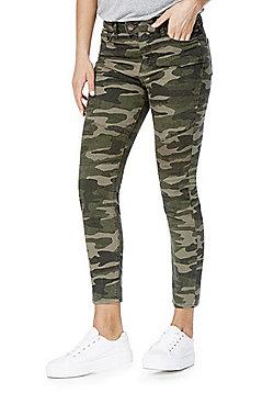 F&F Camouflage Biker Seam Ankle Grazer Mid Rise Skinny Leg Jeans - Green