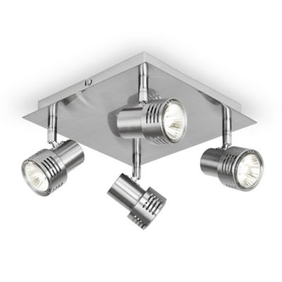 Modern Four Way Square Ceiling Spotlight, Brushed Chrome