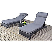 Luxan Rustic Pair Of Loungers Black Rattan