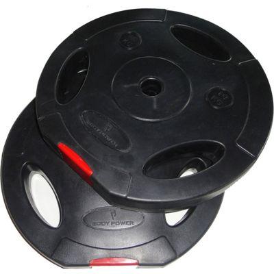 Body Power 10Kg Tri Grip Vinyl Standard (1 Inch) Weight Disc Plates (x2)