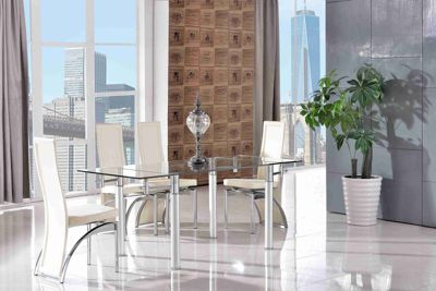 Verona Glass 120 - 180 cm Dining Table with 6 Ivory Alisa Chairs