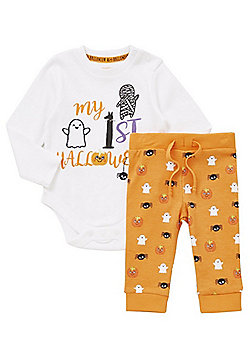F&F My First Halloween Bodysuit and Leggings Set - Orange