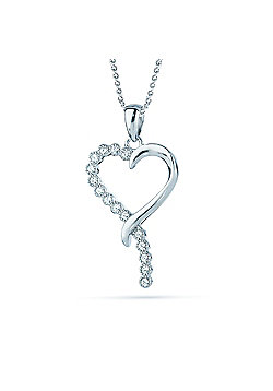 REAL Effect Rhodium Plated Sterling Silver White Cubic Zirconia Half and Half Heart Charm Pendant - 16/18 inch