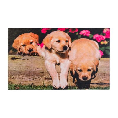 Homescapes Puppies Printed 100% Recycled Rubber Non-Slip Doormat