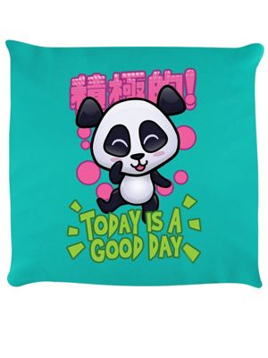 Handa Panda Today Is A Good Day Cushion 40 x 40cm, Turquoise