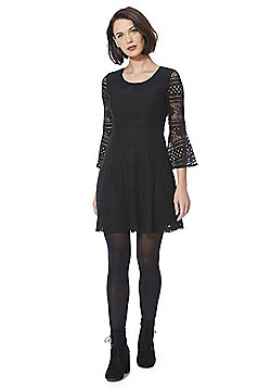Yumi Lace Bell Sleeve Babydoll Dress - Black