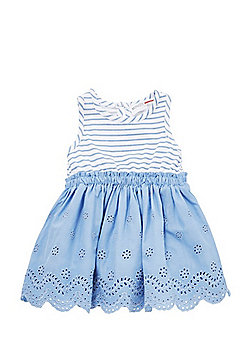 Minoti Striped and Broderie Anglaise Dress - Blue