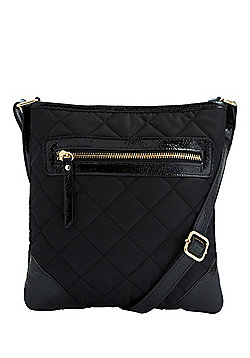F&F Patent Trim Quilted Cross-Body Bag