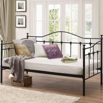 Happy Beds Torino Metal Day Bed with Orthopaedic Mattress - Black - 3ft Single