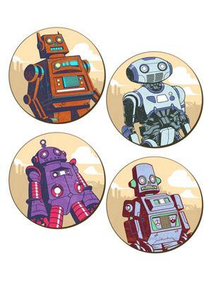 Retro Robots 4 Piece Coaster Set