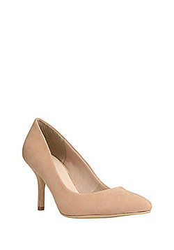F&F Faux Suede Pointed Toe Court Shoes - Beige